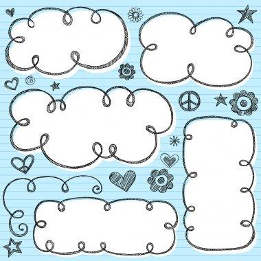 Cloud Frames Swirly Sketchy Vector Doodles Design Elements