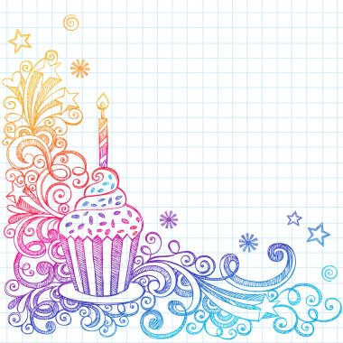 Birthday Cupcakel Sketchy Doodle Vector Design
