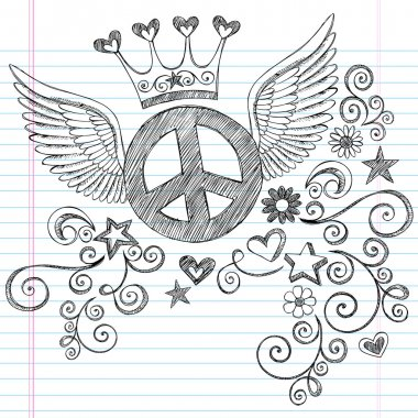 Peace Sign with Wings Sketchy Doodles Vector