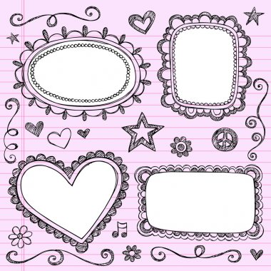 Sketchy Doodles Frames Notebook Doodles Vector