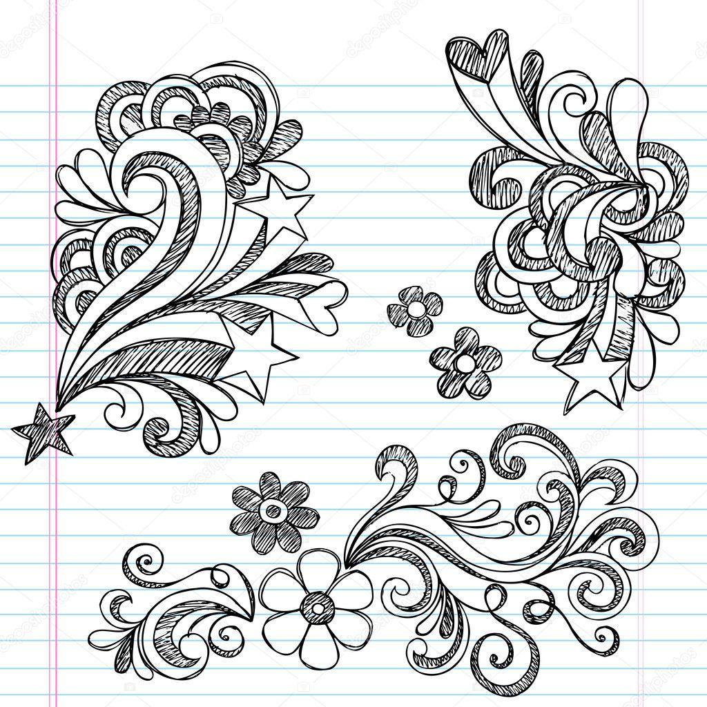 Back to School Sketchy Doodle Vector Design Elements