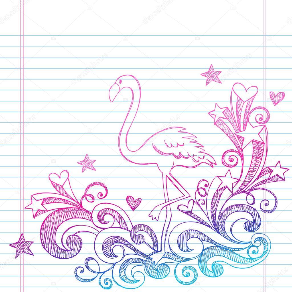 Flamingo Sketchy Summer Doodles Vector Illustration