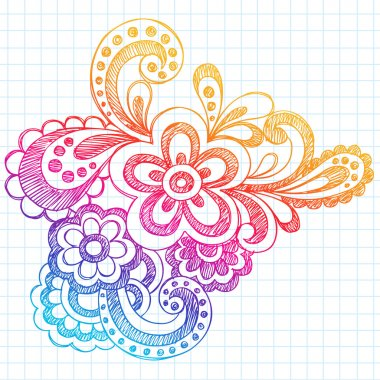 Sketchy Back to School Flower Doodle Vector