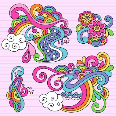 Abstract Psychedelic Doodles Vector