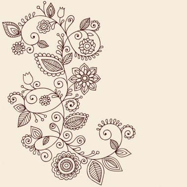 Henna Tattoo Paisley Flowers and Vines Doodles Vector