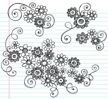 Flowers Sketchy Doodle Vector Design Elements Set