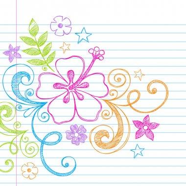 Summer Hibiscus Hawaiian Beach Tropical Doodle