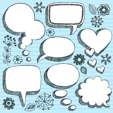 Speech Bubbles Sketchy Doodle Vector Design Elements
