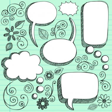 3D Sketchy Speech Bubbles Vector Design Elements