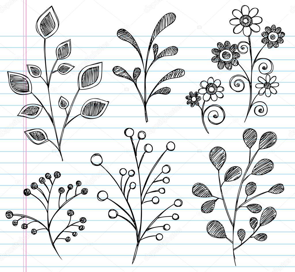 Flowers and Leaves Sketchy Doodle Vector Design Set