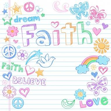 Faith Peace Dove Sketchy Doodles Vector