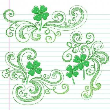 Sketchy St Patricks Day Four Leaf Clovers Doodle Vector