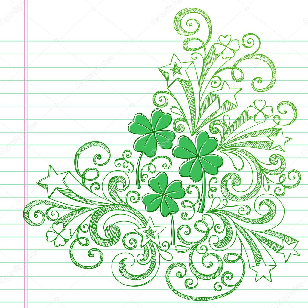 Sketchy St Patricks Day Four Leaf Clovers Doodle Vector