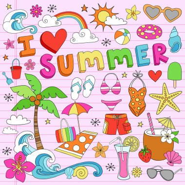 I Love Summer Vacation Notebok Doodles Vector Set
