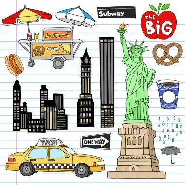 New York City Manhattan Doodles Vector Set