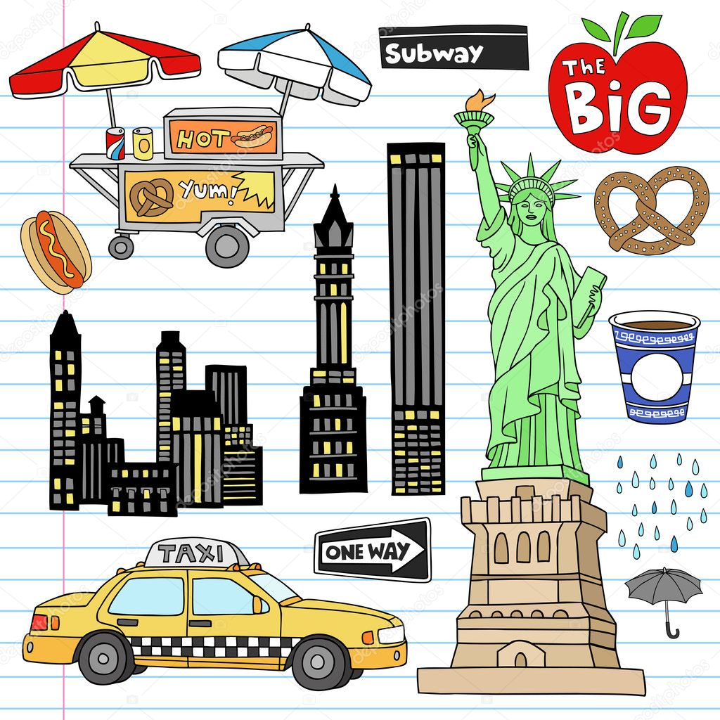 New York City Manhattan Doodles Vector Set