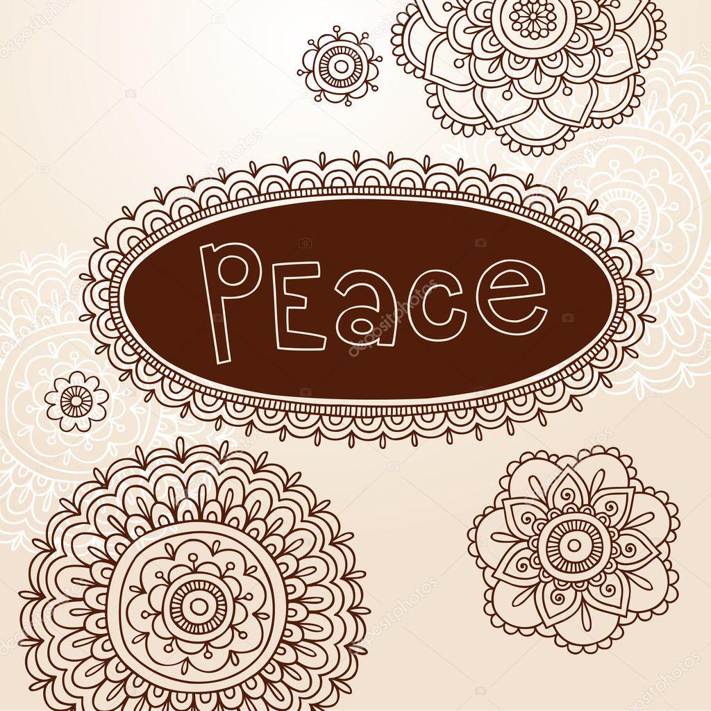 Henna Frame und Tattoo paisley Flower doodles Vektor — Stockvektor ...