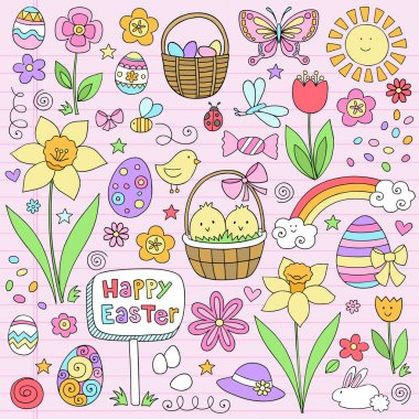 Easter Spring Notebook Doodles Vector Design