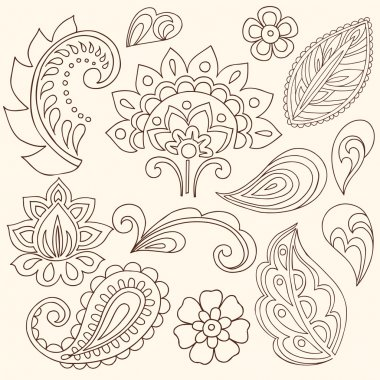 Hand-Drawn Abstract Henna Paisley Vector Illustration Doodle
