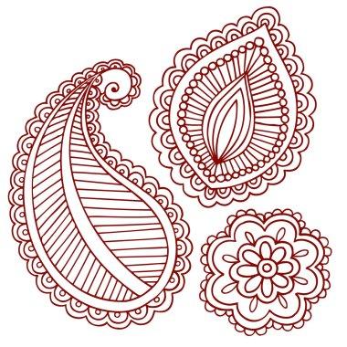 Henna Tattoo Paisley Flower Doodle Vector Design Elements Set