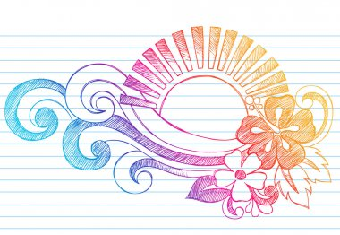 Sketchy Summer Sunset and Tropical Hibiscus Flower Doodle Vector
