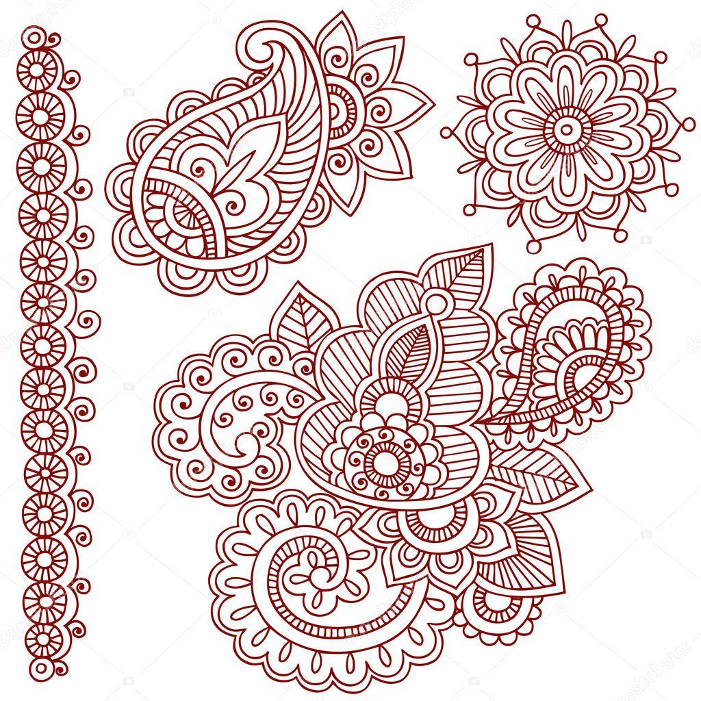 Henna Paisley Flower Doodle Vector Design Elements  Stock