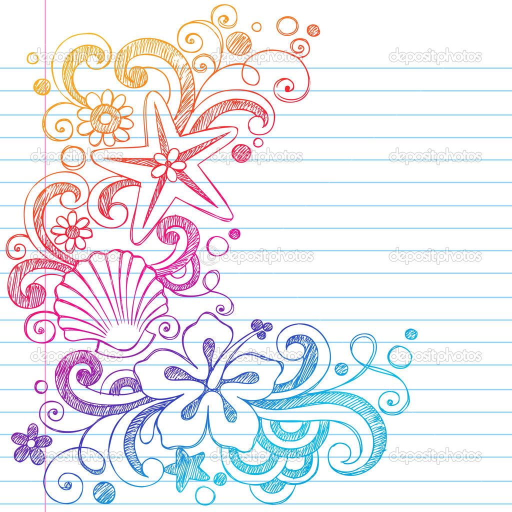 Sketchy Summer Tropical Hibiscus Flower Doodle Vector