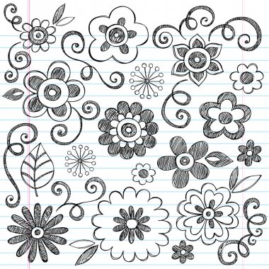 Flowers Sketchy Notebook Doodles Vector Design Elements