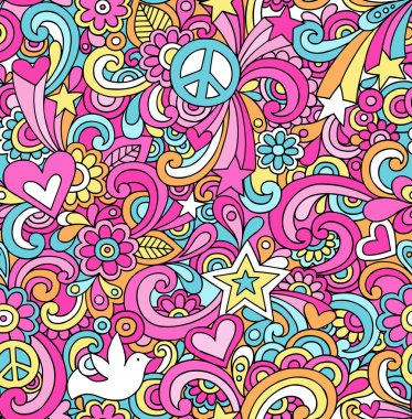 Peace Sign Doodles Seamless Repeat Pattern Vector