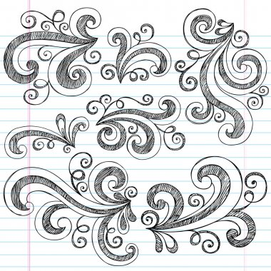 Sketchy Doodle Swirls Vector Design Elements