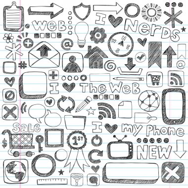 Web Computer Icons Design Elements Sketchy Doodles Vector Set