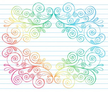 Hand-Drawn Abstract Swirls Symmetrical Frame Sketchy Doodles