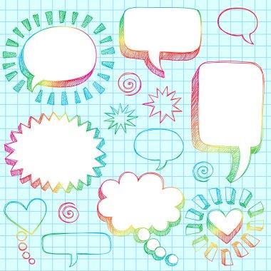 Hand-Drawn Sketchy Comic Speech Bubble Frames Notebook Doodles