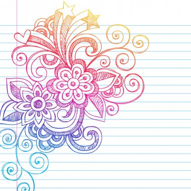 Flowers Sketchy Doodles Back to School Vector Illustration