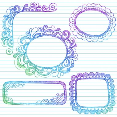 Hand-Drawn Abstract Sketchy Notebook Doodle Frames and Borders