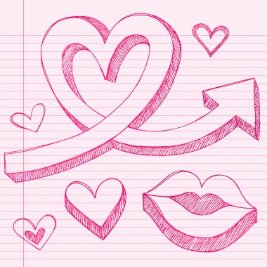 Valentine's Day Sketchy Doodle Love Heart and Lips