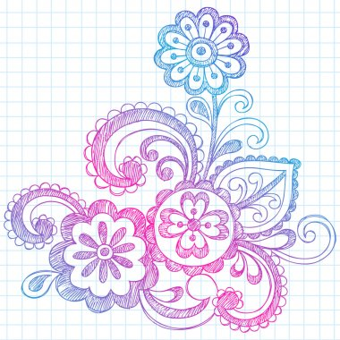 Flowers Sketchy Doodles Back to School Vector Illustration