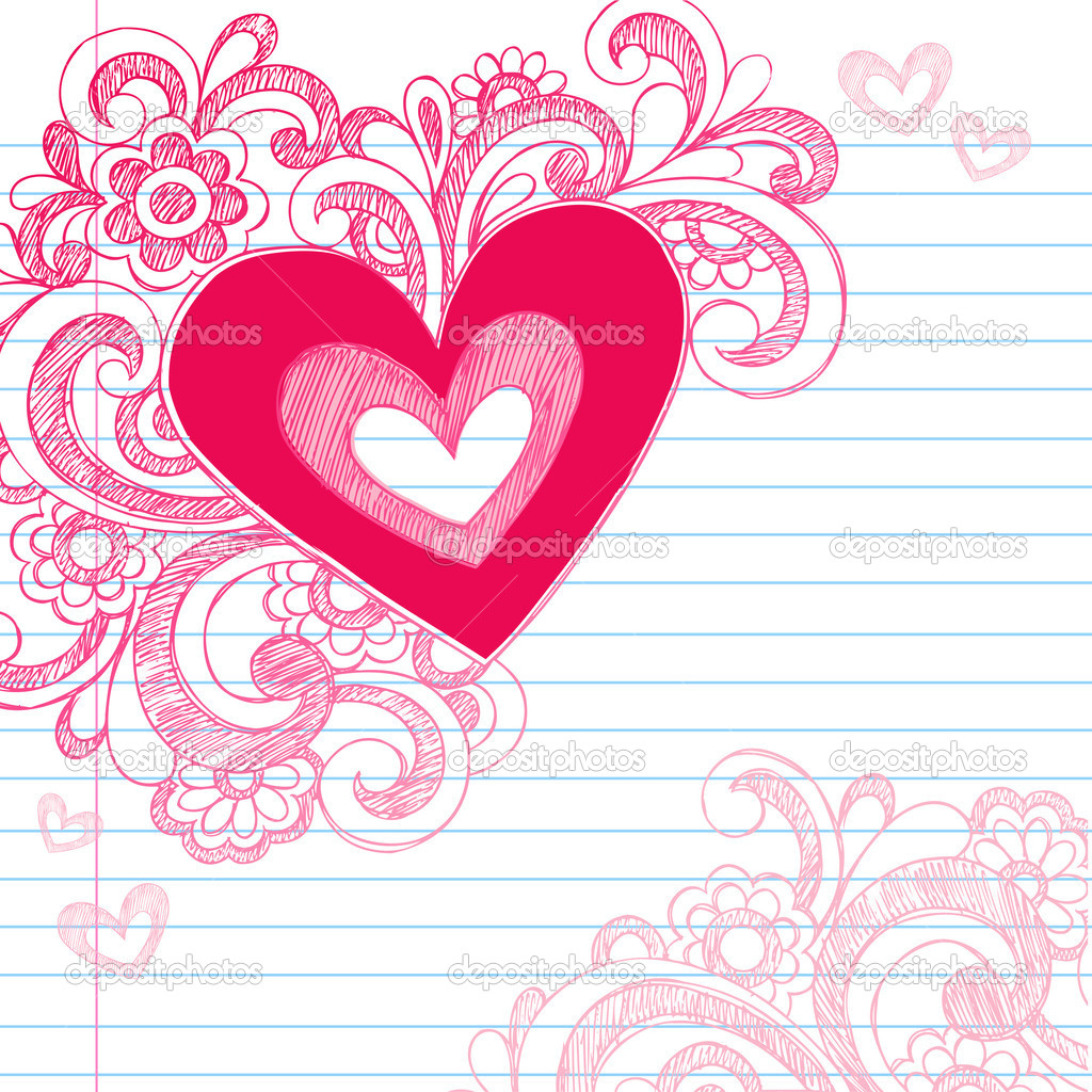 Heart Love Sketchy Doodle Swirls Valentines Day Vector ...