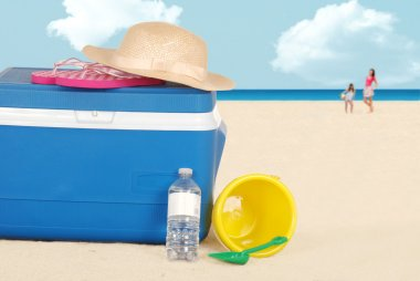 Beach cooler with hat and bottle water