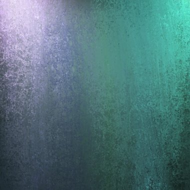 Teal blue background with green and purple