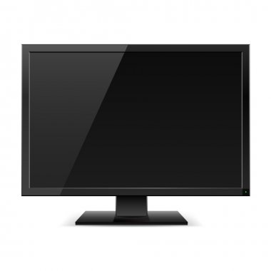 Black LCD TV monitor. Illustration on white background stock vector