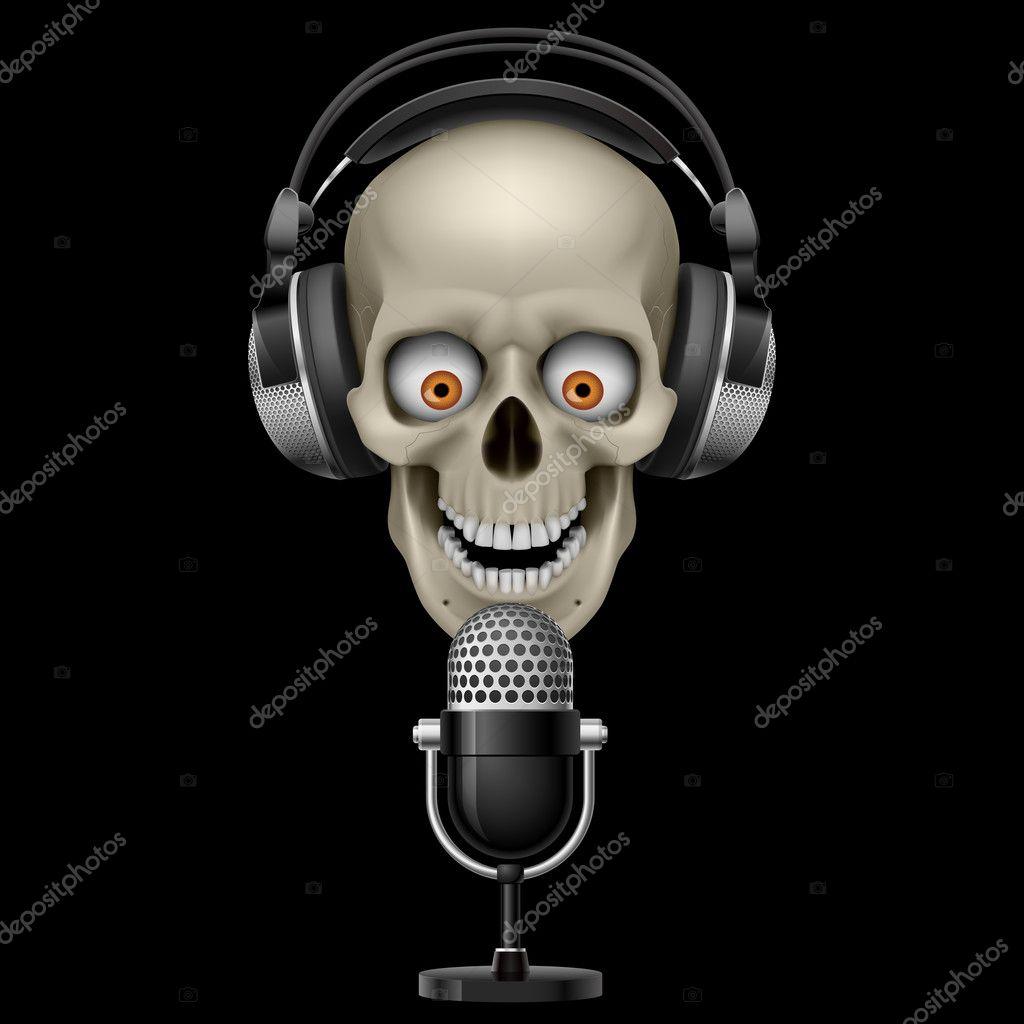Cranio Con Le Cuffie Con Microfono Vettoriali Stock Dvargg 10399567