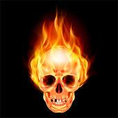 Fotografia spaventoso teschio in fiamme