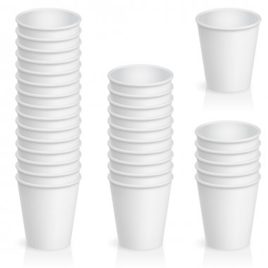 Set of empty paper cup