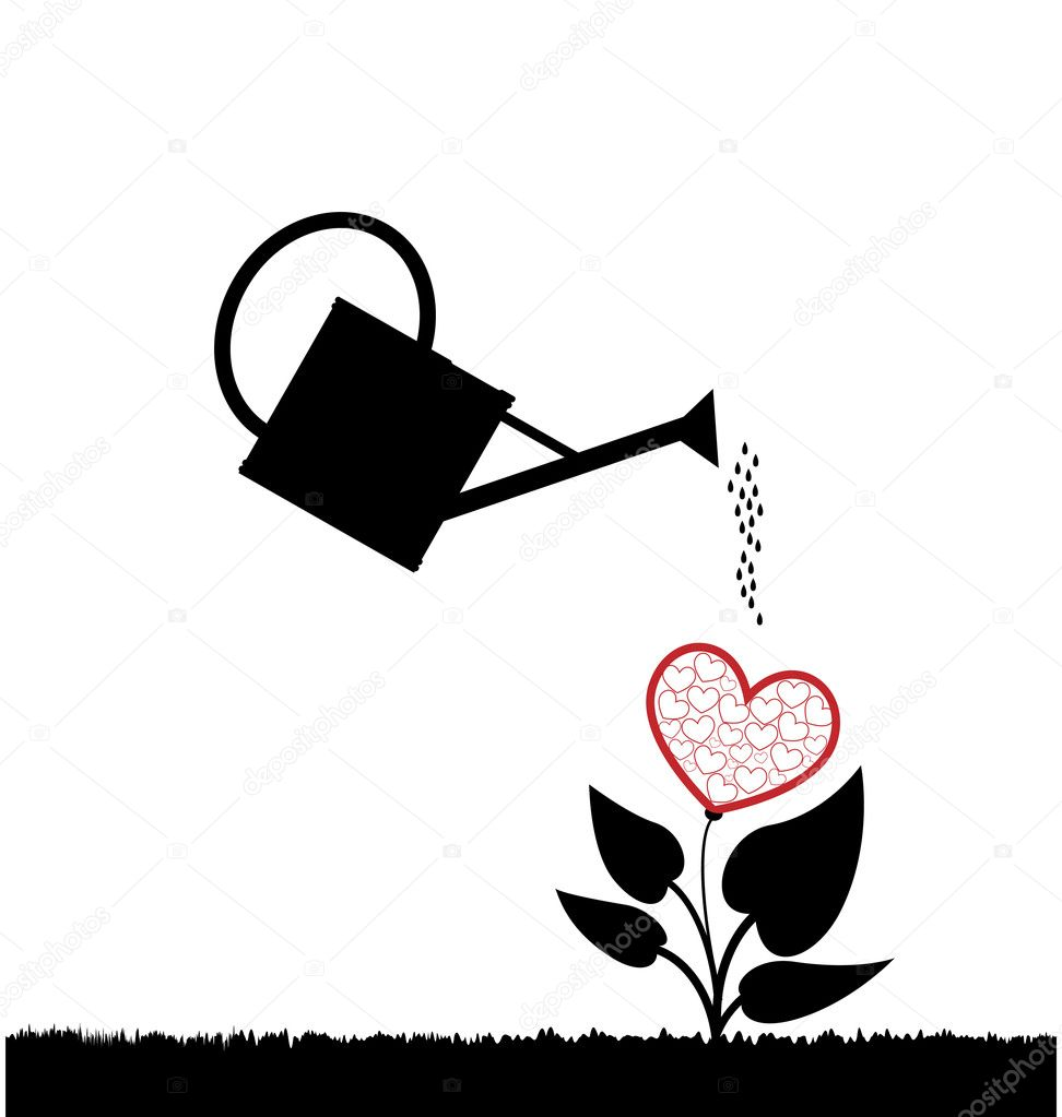 Water can watering plant with heart