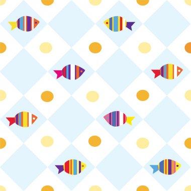 Fish seamless plaid pattern