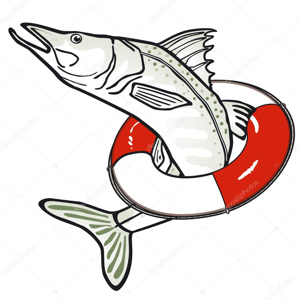 Fish with a life ring — Stock Vector © scusi0-9 #8475385