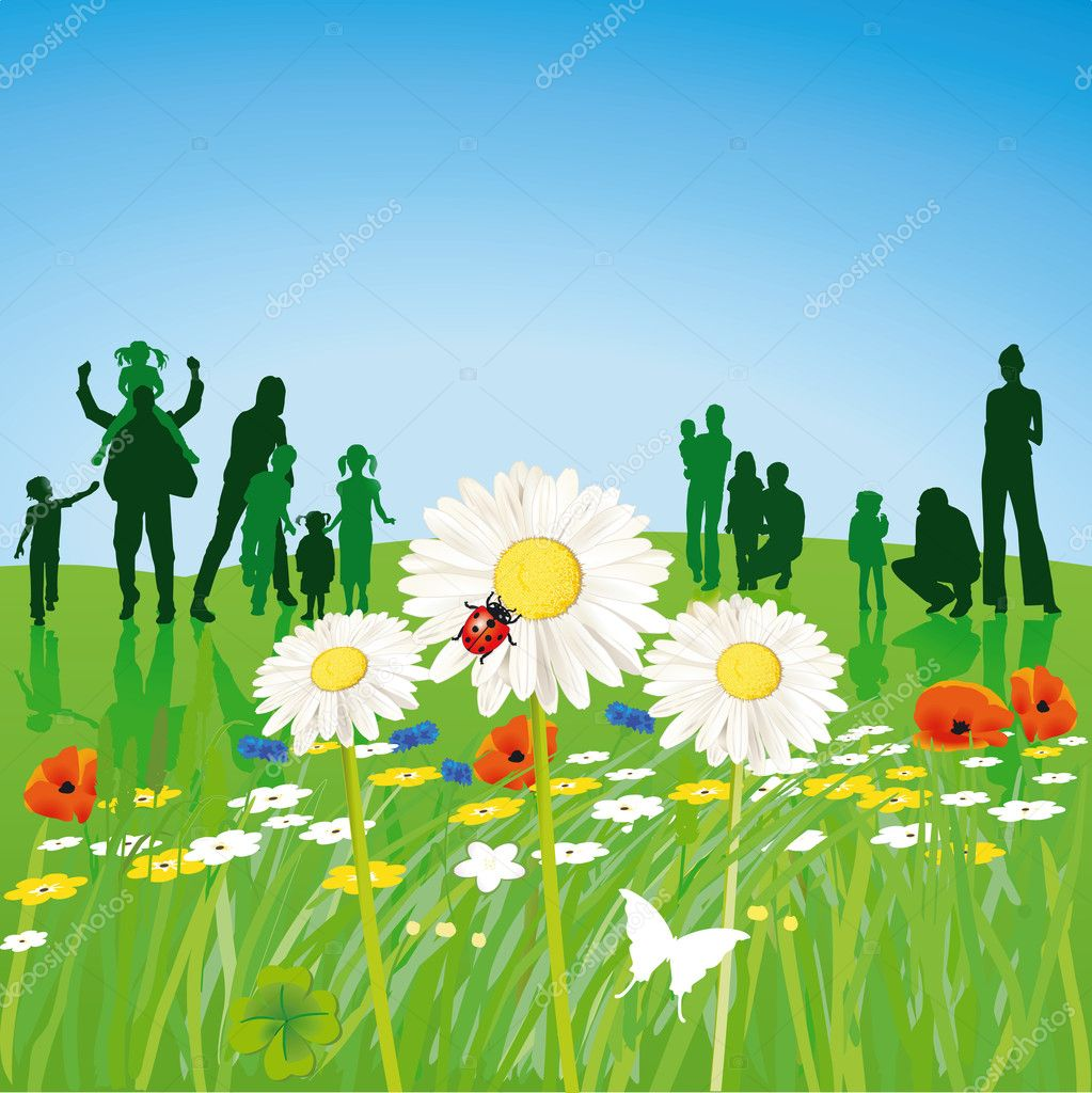 Families in the spring stock vector