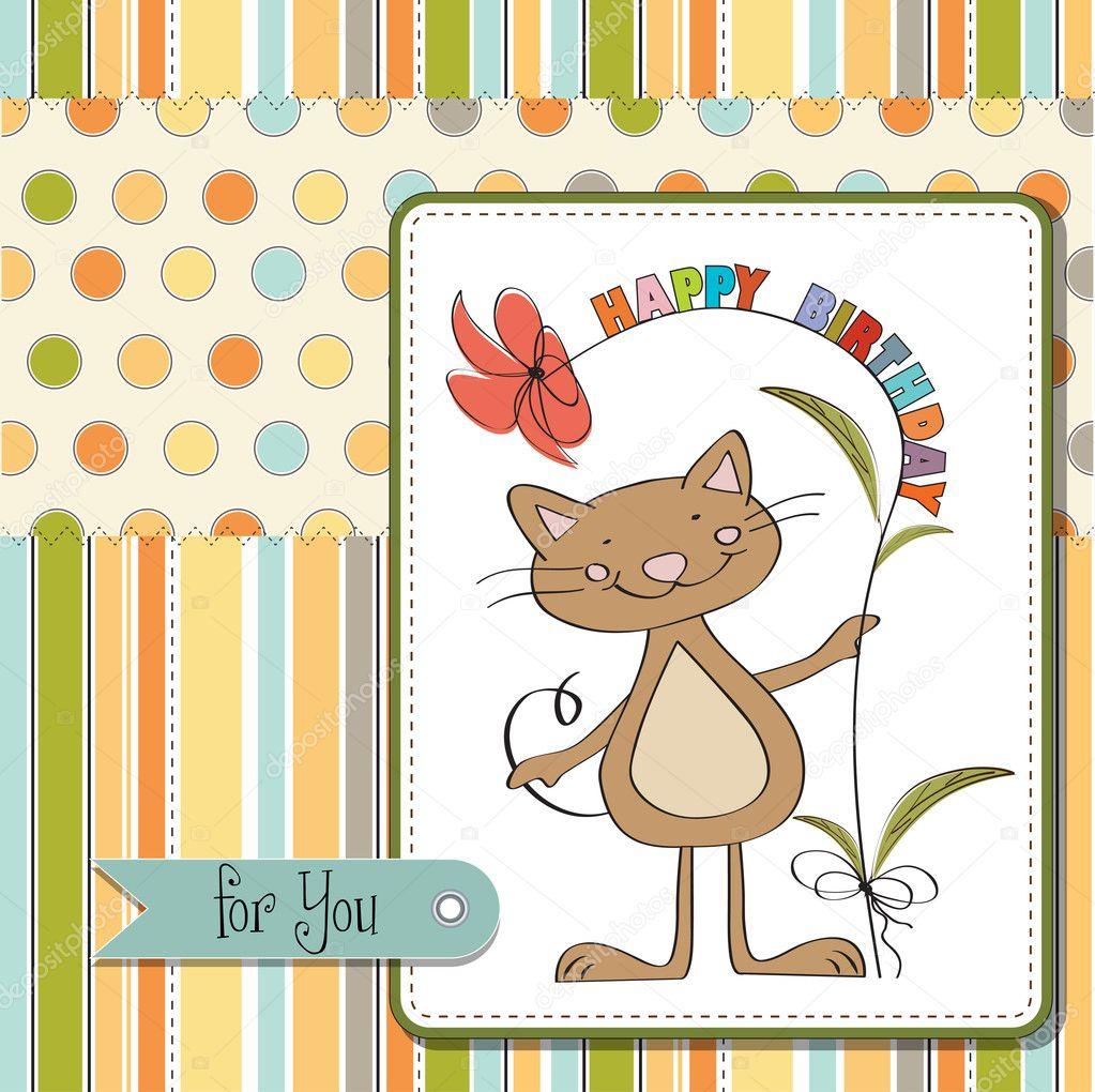 happy birthday card with cat u2014 stock photo claudiabalasoiu 10148547