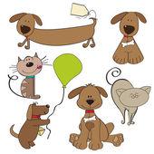 Fotografie kreslené zvířata kolekce na bílém pozadí